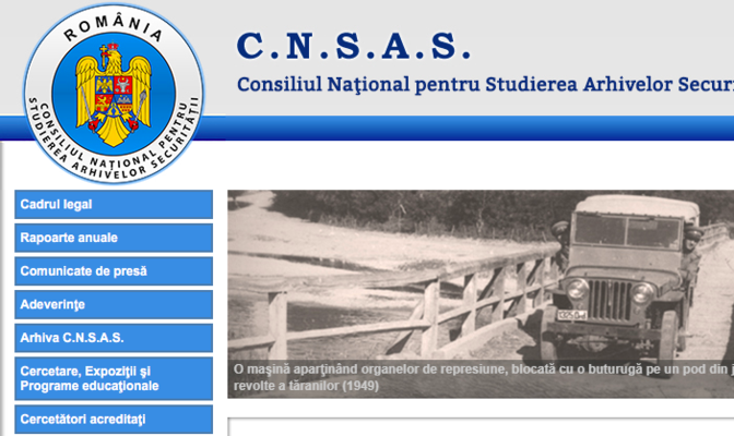 Screenshot der Institutshomepage cnsas.ro