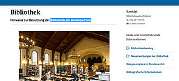 Screenshot der Website der Bibliothek des Bundesarchivs